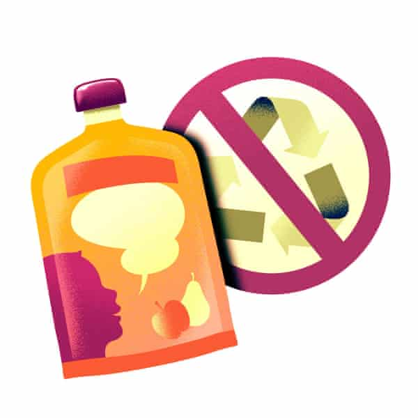 Recyclers say small plastic pouches used for laundry detergent pods and juices are pretty much impossible to recycle.