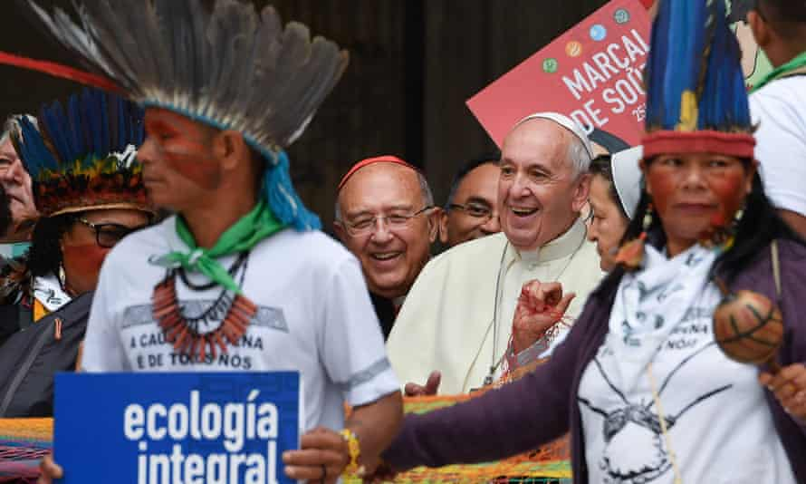 The pope on Monday at the Vatican. Francis described how upset he became when he heard a snide comment about the feathered headdress worn by an indigenous man at mass on Sunday.