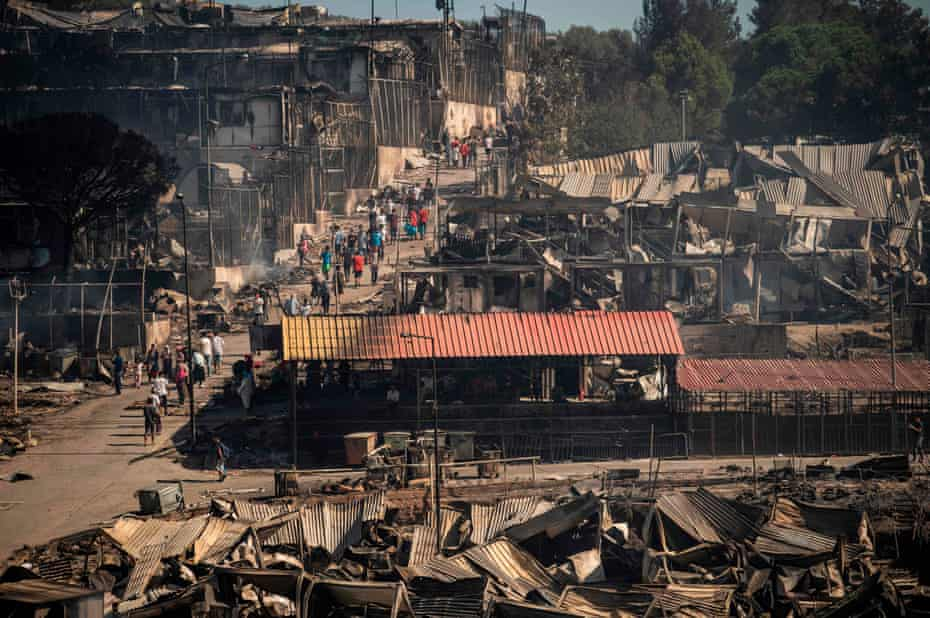 The scene inside the devastated camp on Wednesday.