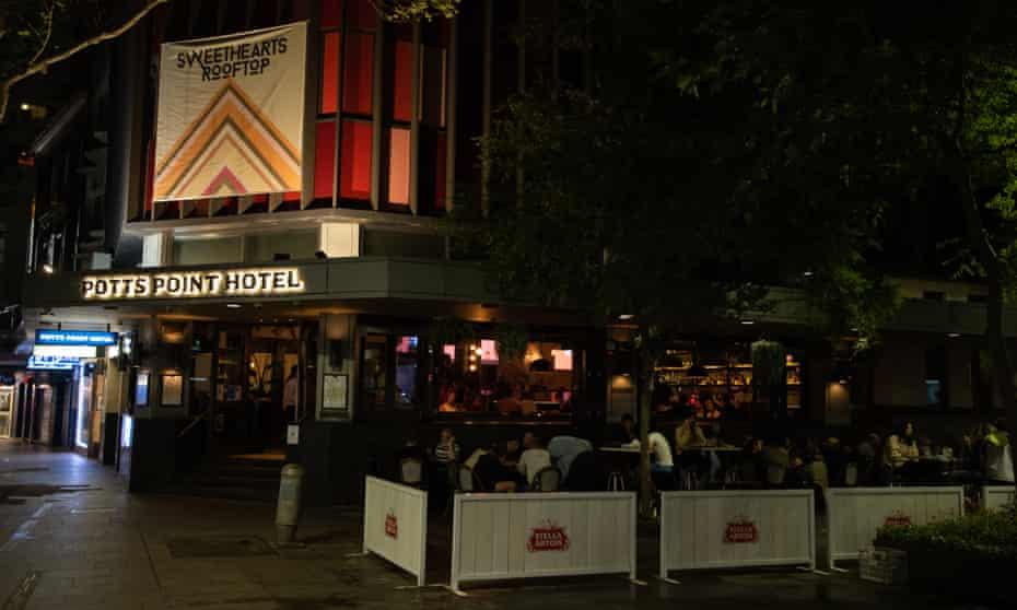 The Potts Point hotel buzzes on Monday night.