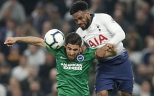 Jahanbakhsh is challenged by Spurs' Danny Rose last month.