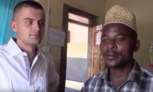 An image from a video showing Sam Little doing his trial of MMS in Uganda.