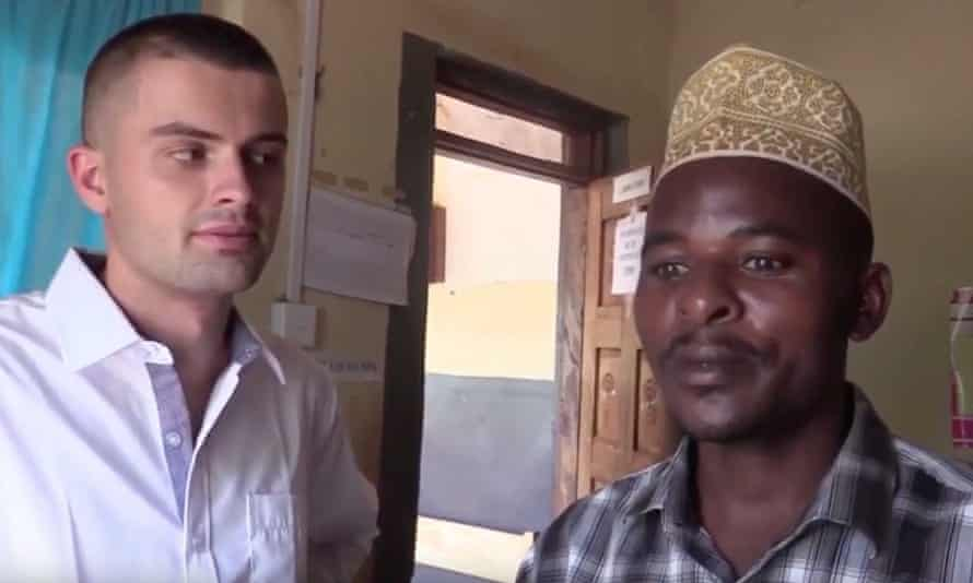 Screengrab of a video showing Sam Little doing his trial of MMS in Uganda.
