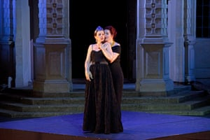 Anna Devin, left, as Poppea, and Kitty Whately as Nerone performing Pur ti miro.