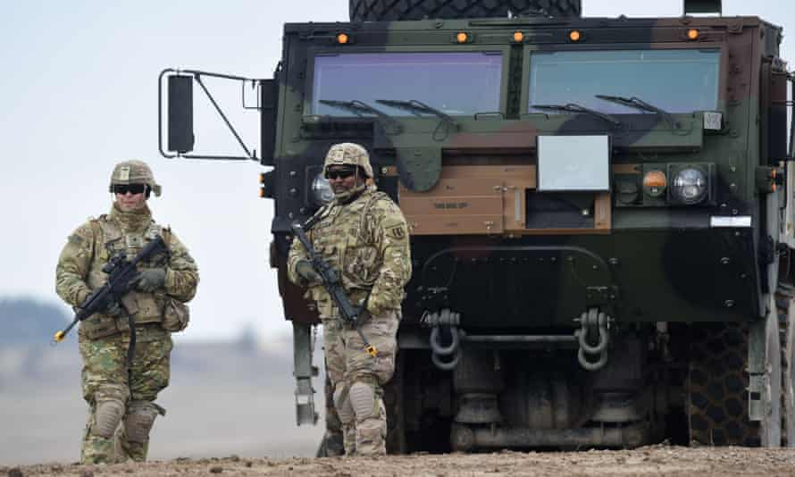 US troops at a military training area in Grafenwöhr in Germany earlier this year.