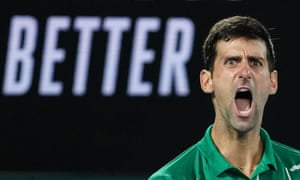 Novak Djokovic of Serbia celebrates during the men's singles final against Dominic Thiem of Austria on day 14 of the Australian Open tennis tournament at Rod Laver Arena in Melbourne, Sunday, February 2, 2020.