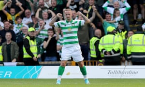 Celtic's Leigh Griffiths celebrates scoring his side's second goal at Fir Park.
