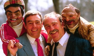 Jimmy Greaves and Ian St John, pictured with their Spitting Image puppets.