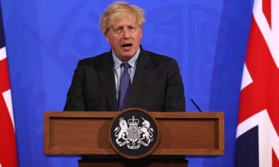 Boris Johnson giving a press conference.