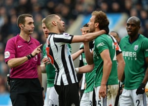 West Brom's Craig Dawson and Newcastle's Islam Slimani show their love for each other after a challenge as The Baggies win 1-0 at St. James' Park.