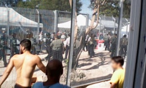 Asylum seekers during a hunger strike at the Manus Island detention centre in 2015.