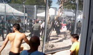 Asylum seekers during a hunger strike at the Manus Island detention centre.