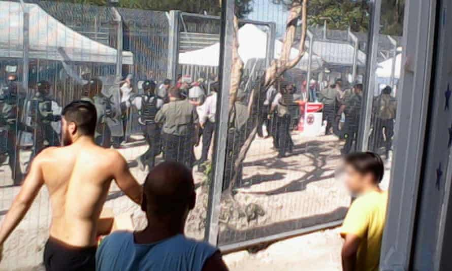 Asylum seekers during a hunger strike at the Manus Island detention centre in January 2015.