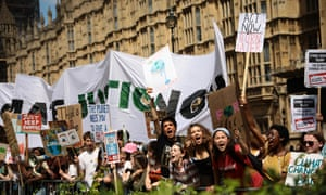 Climate change protesters outside the Houses of Parliament this year.