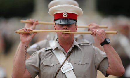 Members of the Royal Marines band rehearse in London.