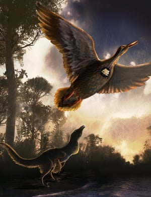 A mid-sized raptor dinosaur is shown using close-mouth vocal behaviour and Vegavis iaai, whose fossilised voicebox has been found, is shown flying overhead.