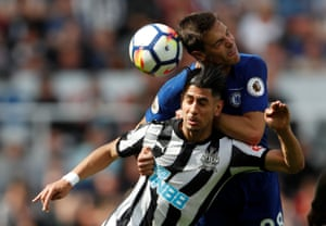 Newcastle United's Ayoze Perez in action with Chelsea's Cesar Azpilicueta at St James' Park. The Toon won the match 3-0 thanks to a double strike from Perez.
