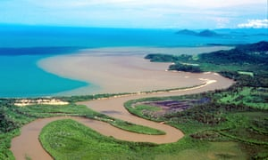 A flood plume from the Maria creek near Mission Beach heading towards the Great Barrier Reef
