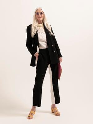model wears  blazer, £65, and trousers, £42, both topshop.com. Shirt, £65, asos.com. Sandals, £155, russellandbromley.co.uk. Sunglasses, £14, urbanoutfitters.com.