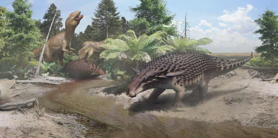 An illustration of the 110-million-year-old Borealopelta markmitchelli discovered in Alberta, Canada.