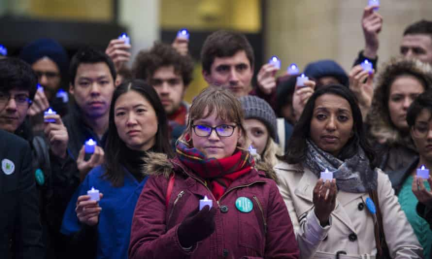 Junior doctors hold a candlelit vigil outside the Department of Health