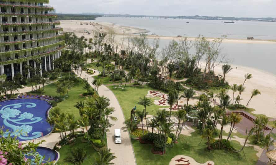 Land reclamation continues next to a newly built hotel in Forest City, Malaysia.