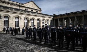 Police in Bordeaux observe a minute's silence