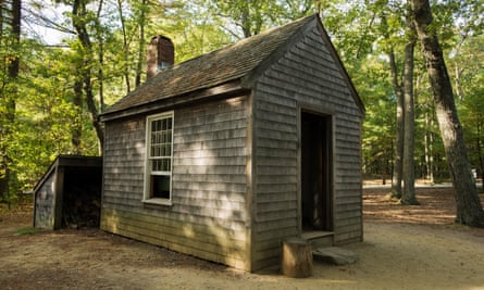 A replica of Thoreau's house on Walden Pond.