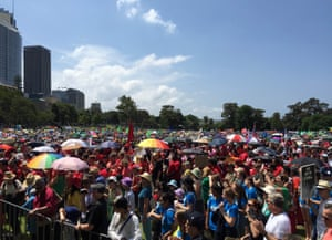 The crowd listen to speeches at the Domain in Sydney, Australia, on 29 November 2015 as part of global climate marches in the lead-up to COP 21 in Paris.