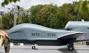 A Nato Global Hawk drone on display in Warsaw, Poland.