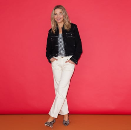 Jess Cartner-Morley in denim jacket and white jeans