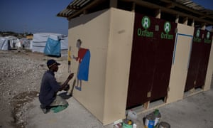 Oxfam's activities in Haiti in 2011 included setting up latrines at the camp for 55,000 displaced Haitians.