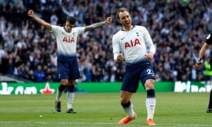 Tottenham's Christian Eriksen celebrates after scoring his team's second goal.