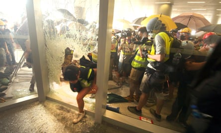 Protesters break into the government's parliament building.
