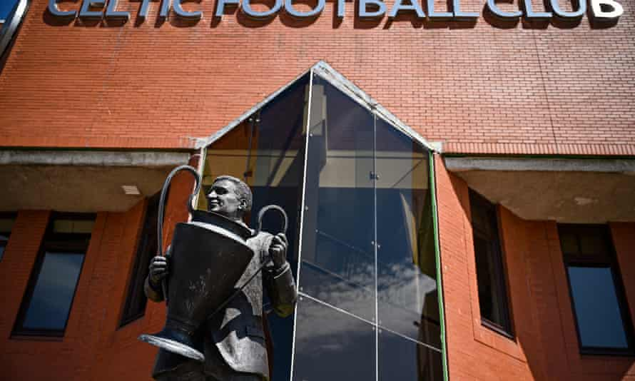 A view of the Jock Stein statue outside Celtic Park.
