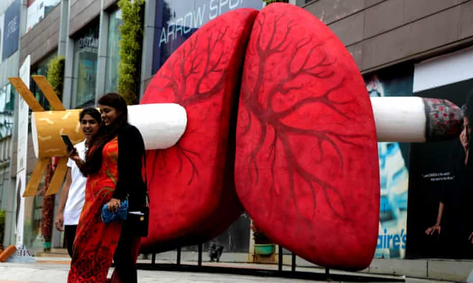 An installation in support of World No Tobacco Day in Bangalore, India on Wednesday.