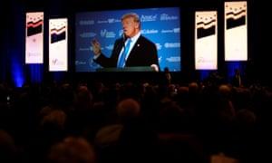 Donald Trump addresses the Values Voter Summit in Washington DC.