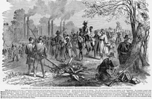 A painting of freed slaves, once belonging to Confederate president Jefferson Davis, arriving at a 'federal camp' in Chickasaw Bayou, Tennessee.