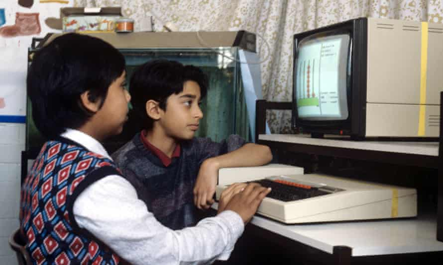 UK Primary school children in class in 'Video Maths' - 1988 on a BBC Micro Computer.