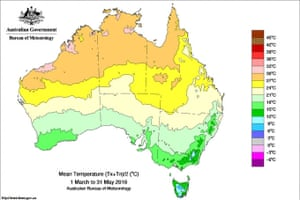 A graphic shows Australia's warmest autumn on record with record temperatures throughout much of eastern and northern Australia.