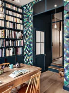 The library wall in Camille Hernand's maisonette in the Marais district of Paris