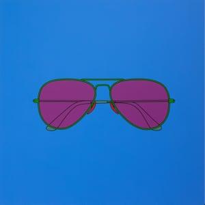 Untitled (sunglasses blue 2), 2021 © Michael Craig-Martin. Photo: Lucy Dawkins. Courtesy the artist, Gagosian, and Reflex Amsterdam.