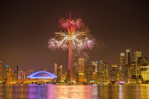 Toronto, Canada Fireworks explode from the CN Tower during the closing ceremony to mark the end of the 2015 PanAm Games