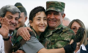 Mario Montoya with the French-Colombian politician Ingrid Betancourt after her release in Operation Jaque, Bogotá, July 2008