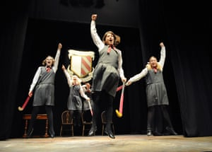 Joanne Gale (Alice), Lulu Miller (Belinda),Rebecca Haigh (Trixie), back, Emma Scholes (Clare) and Lucy Austin (Daisy) in Daisy Pulls It Off @ Arts Theatre (Opening 21-01-10)