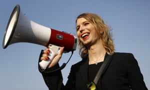 Chelsea Manning speaks at an anti-fracking rally in Baltimore last April.