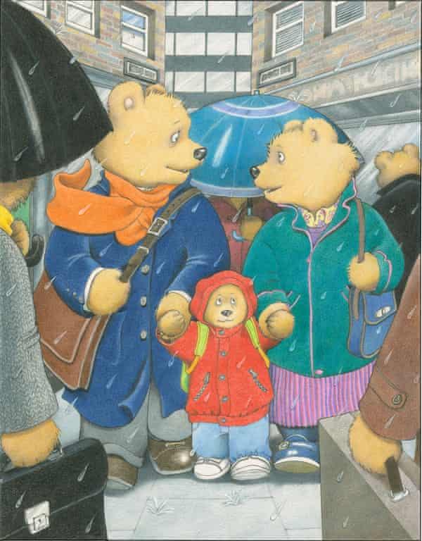 An illustration of the bear family on a city street on a rainy day, with a father and mother holding a junior bear by each hand