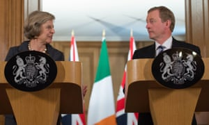 Theresa May and Irish Taoiseach Enda Kenny speaking to the media inside 10 Downing Street after their talks today.