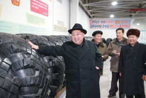 Kim inspects a local tire factory in Chagang province, North Korea.