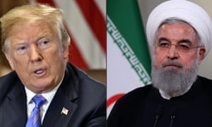 US president donald trump and iranian president hassan rouhani